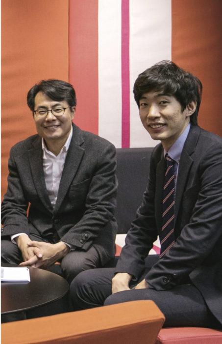 SeogWon Hwang (vas.) ja Pilseong  Jang edustavat Etelä-Korean tiede- ja teknologiainstituuttia, joka on TEKbaron yhteistyökumppani.