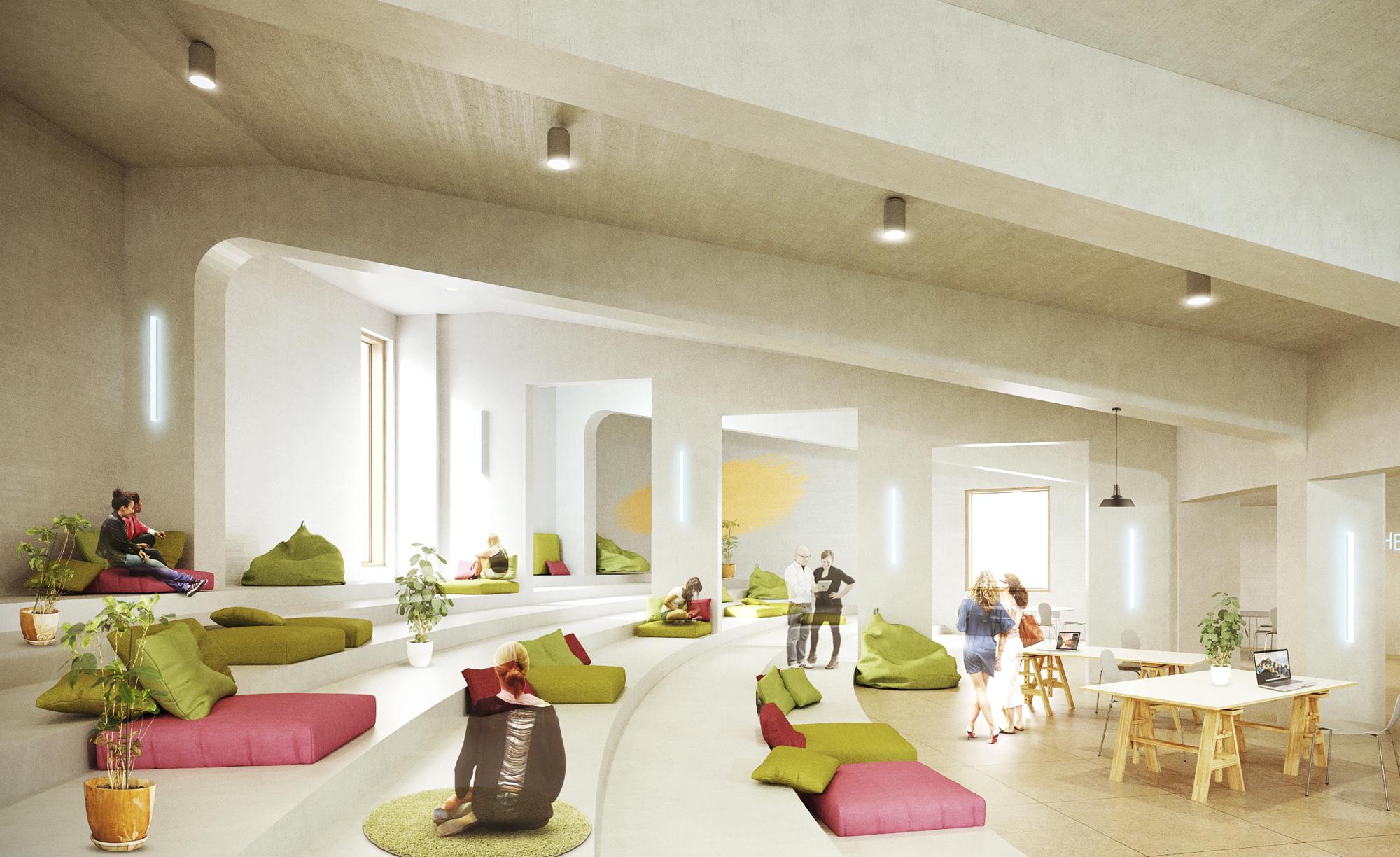 Havainnekuva remontoitavan  A Gridin aulatilasta.  Kuva: Aalto-yliopisto