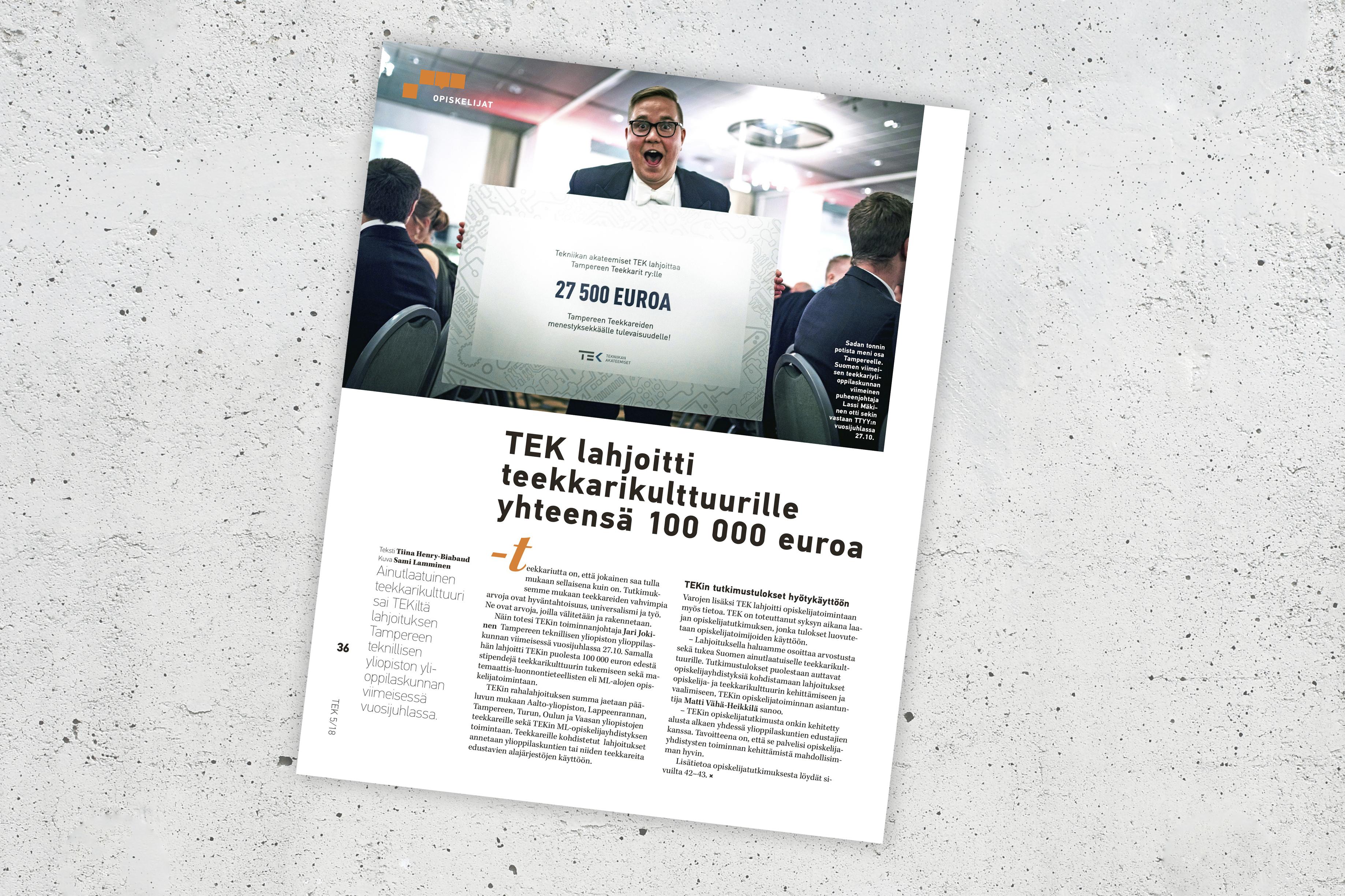 TEK-lehti kertoi lahjoituksista numerossa 5/2018.