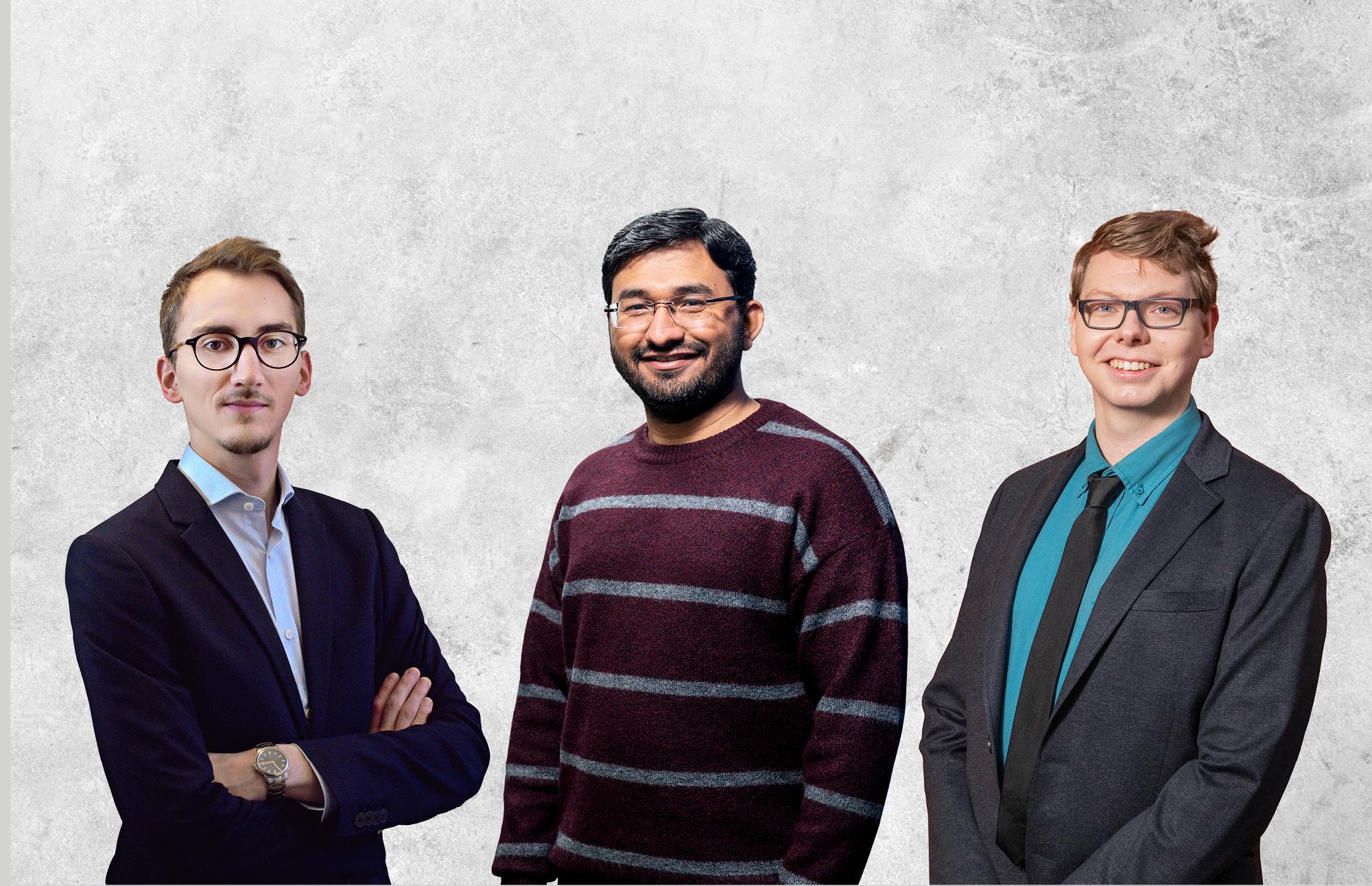Eelis Leino (vasemmalla), Asad Awan ja Timo Lintonen palkittiin erinomaisista töistään.
